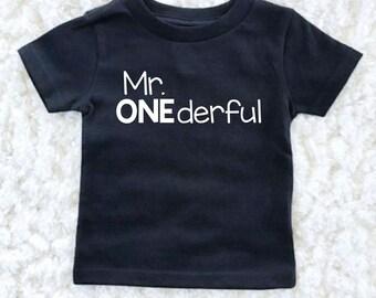 Mr Onederful Birthday Shirt - First Birthday Boy Outfit - Birthday Boy - 1st Birthday - First Birthday Boy Shirt