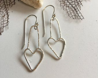 Minimalist Organic Fine Silver Heart Earrings