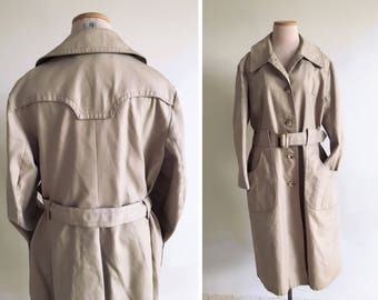 60s trench coat women L XL Vintage trench raincoat long belted beige trench/tan rain mod 1960s coat/70s trench/midi knee canvas spy retro