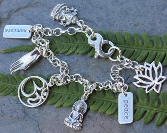 Sterling Silver Zen Bracelet - Yoga, Meditation, Buddhism, Hindu- lotus, peace, Buddha, Om, Mudra Hand, namaste, Ganesh- free USA shipping