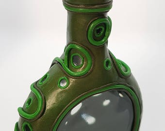 Message in a bottle, green with green spiral