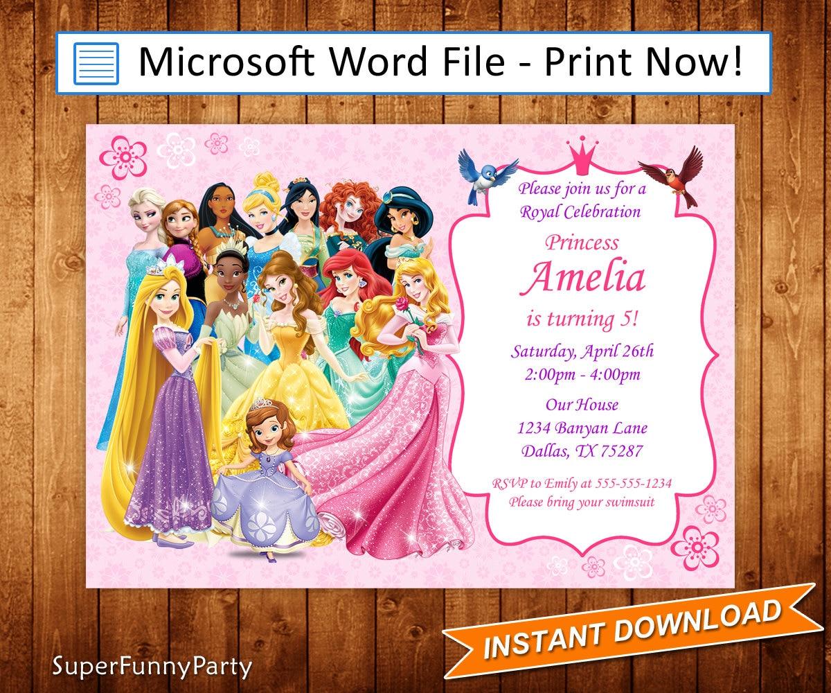 Disney princess invitation disney princess birthday invite zoom stopboris Images