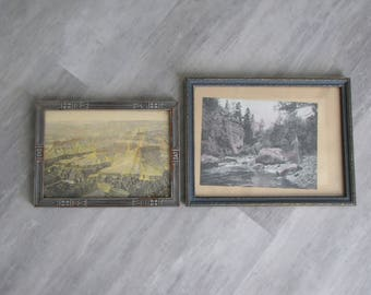 Vintage Set of Two Wooden Picture Frames - Frame Collection Art Deco