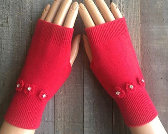 FREE US Shipping! Fingerless Gloves Arm Warmers Hand Warmers Red Gloves Flower Knit Mittens Women's Texting Gloves Rhinestone Gloves Wool