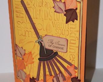 Autumn Rake Card-Autumn-Autumn Card-Rake-Rake Card-Fall-Fall Card-Greeting Card-Handmade Card