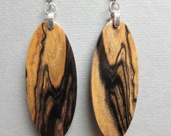 Ebony, Black & White  Exotic Wood repurposed ecofriendly Handcrafted ExoticWoodJewelrynd