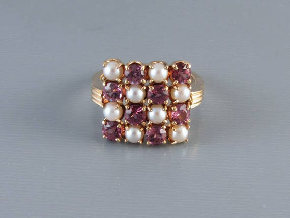 Vintage rhodolite plum purple garnet and pearl checkerboard 14k gold ring, size 6, signed Church and Company