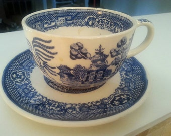 Vintage Blue & White Cup and Saucer