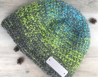 Personalized Quote of Your Choice/ Hygge Hatte Crochet Beanie Taupe, Green, Turquoise/ Gift For Him or Her/ Original Gift