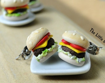 Hamburger Studs / Post Earrings - Fimo Food
