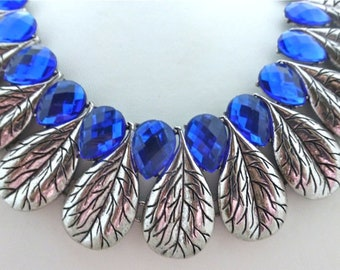 Bright Blue and Silver Leaf Necklace