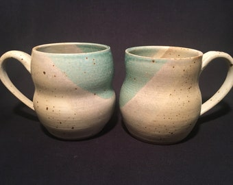 Set of 2 Mugs, Ceramic, Mug, Pottery Mug, Coffee Mug, Wheelthrown Mug, Handmade, Ceramic Mug, Stoneware, Green Glaze, Housewarming Gift