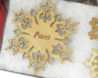 Personalized Ornament - Christmas Snowflake Gift Box Set - Custom Engraved Wood Snowflake - Oak Wood - Made in the USA! Cherry paco