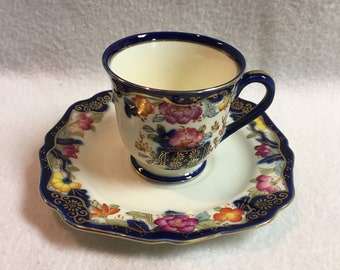 Occupied Japan SGK Royal Blue Floral Small Cup and Saucer (#069)