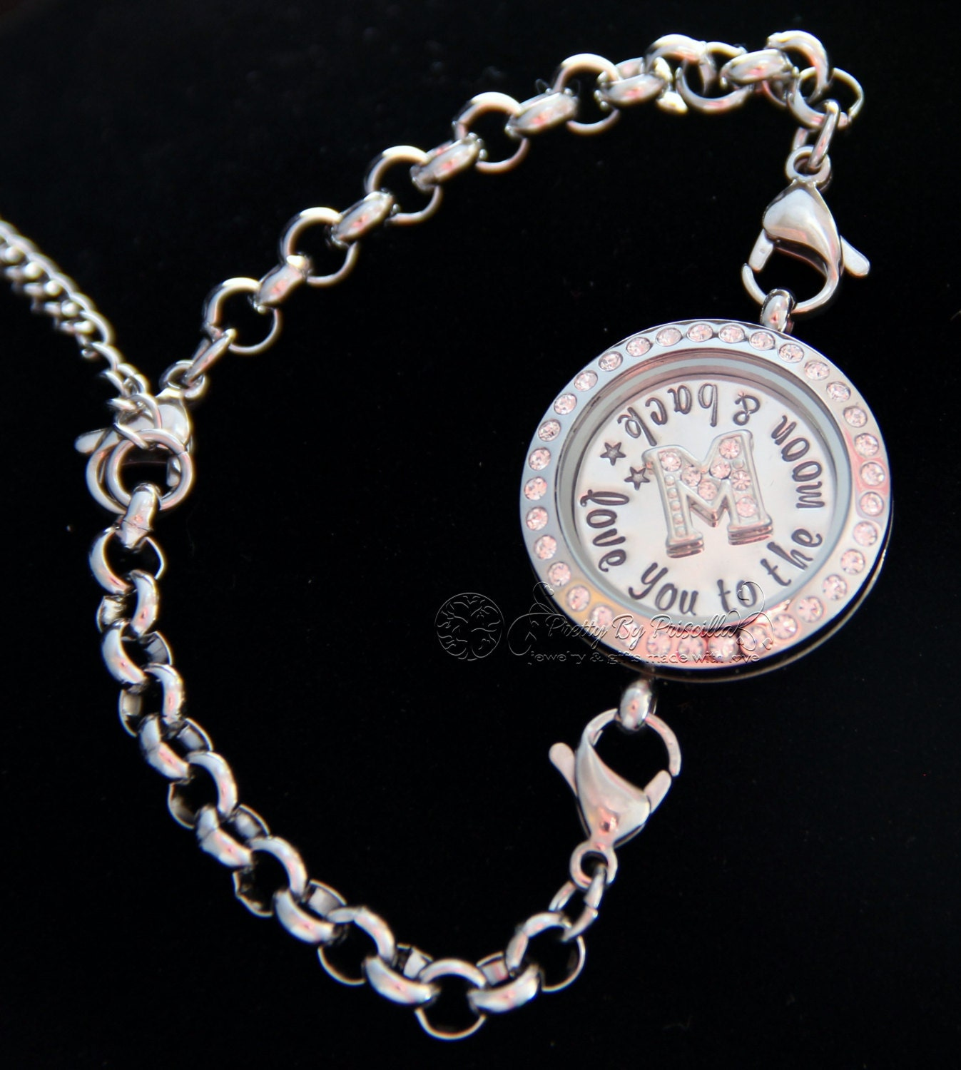 pin bracelet necklace rose dangle gold chain and lockets locket