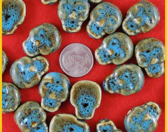 Verdigris Ceramic Skull Beads Double Side Holes - Lot of 15