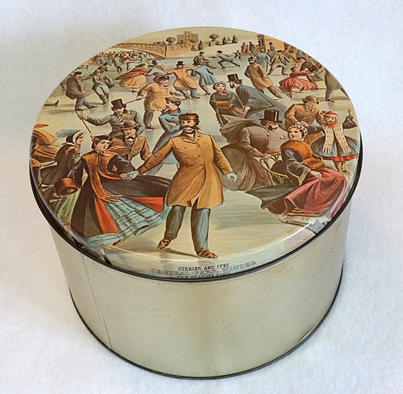 Large Vintage Maurice Lenell Cookie Tin.. Currier & Ives Skating Central Park NY