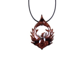 Phoenix Pendant, Phoenix Necklace, Phoenix Jewelry, Wood Phoenix Pendant, Firebird Necklace, Bird Necklace, Bird Jewelry, Wood Jewelry