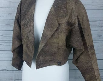 80's Vintage Crop Faux Leather Jacket. Brown. Size 10. Fully Lined. 80's Party. Obviously Vintage. Biker Jacket.