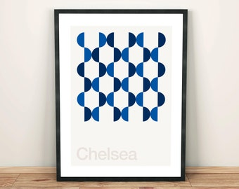 Chelsea FC, Football Art Print, Football Poster, Abstract, Minimal