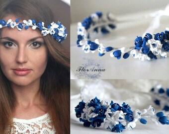 blue wreath, blue boutonniere, blue bracelet, blue and white, bride jewelry, bridesmaids gift, blue bride, blue jewelry set