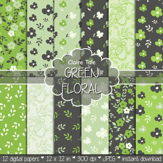 "Flower digital paper: ""GREEN FLORAL PAPER"" green floral background / green flower, leaves, lace pattern / green floral background"