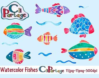 Watercolor Fishes Clip Art, Instant Download, Clip Art Vectors, Clip Art