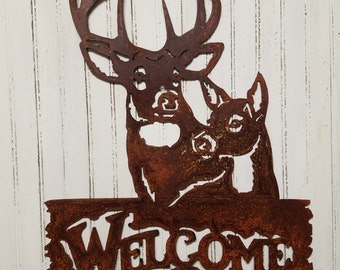 Welcome Buck and Doe Metal Wall Hanging/Sign/Hunting/Cabin/Wildlife/Bow Hunter