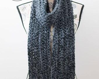 PDF Crochet Pattern - Chunky Charcoal Scarf