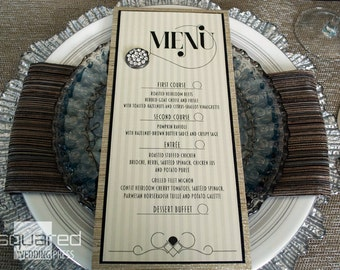 Art Deco Bespoke Menu Cards - DEPOSIT - Luxe Black & Champagne Gold Wedding Reception Menus, Custom Design Wedding Reception Decor LECLAIR