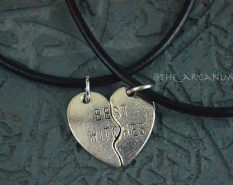 Best Witches black cord necklace set / best friends necklaces / adjustable necklace