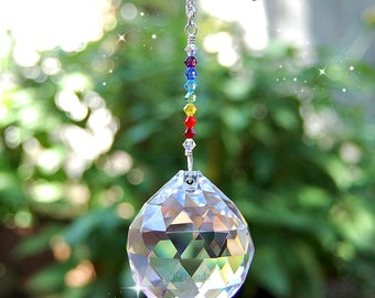 Large Rainbow Prism Crystal Suncatcher, Swarovski Crystal Window Decoration, Chakra, Rainbow Maker, Hanging Crystal Ball