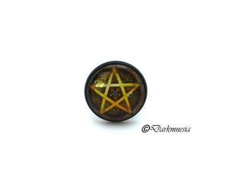 Ring, black, pentacle, pentagram, brown, cabochon, adjustable, goth, gothic, wicca, witch, witchcraft, pagan