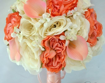 Wedding Bouquet, Wedding Flowers, Silk Flower Bouquet, Bridesmaid Bouquet, Wedding Bouquet Set, Coral, Peach, 17 Pc Package, Lily of Angeles