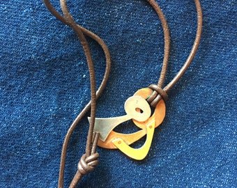 Handmade Vintage Necklace of Silver Brass Copper on Brown Leather Cord