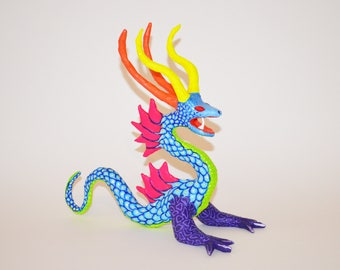 One of a kind paper mache made dragon alebrije