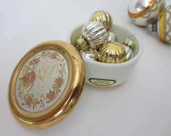 Vintage Porcelain Jewelry box  - White and Gold 50th Anniversary Art of Chokin Japanese Box - Silver, Copper & Gold