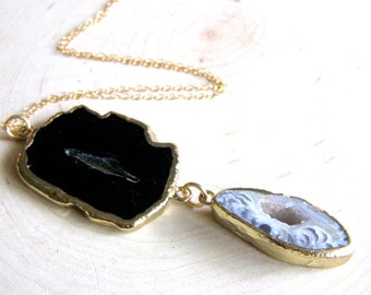 Onyx Geode Slice Necklace, Black and Gold Gemstone Pendant, Abstract Druzy Necklace, Gold Fill Chain, Unique Fashion Necklace , Gift for Her