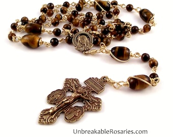 Bronze Tiger Eye Virgin of Sorrows Rosary Beads w 3-Way Pardon crucifix by Unbreakable Rosaries
