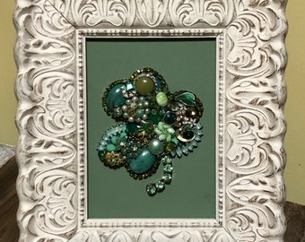 5x7 Framed Clover- Upcycled Jewelry Art