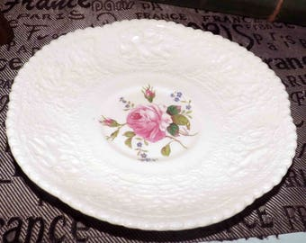 Almost antique (c.early 1920s) Georges Jones & Sons | Crescent Pottery Birbeck Rose hand-painted creamware orphan saucer.