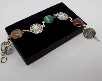 John Hart Iona Viking Ship & Mixed Agate Scottish Silver 1950s Bracelet