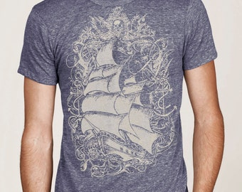 Pirate Ship T-shirt, Nautical T shirt,  Vintage Sailing Ship t-shirt, Art T-shirt, Cool t-shirt