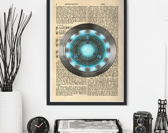 Arc Chest Reactor Tony Stark Iron Man Avengers Captin America Thor Hulk Loki  Marvel ALternative Dictionary Book Poster Print