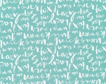 Script Turquoise - Typography - Cloud9 Fabrics - Organic Cotton - Poplin by the Yard