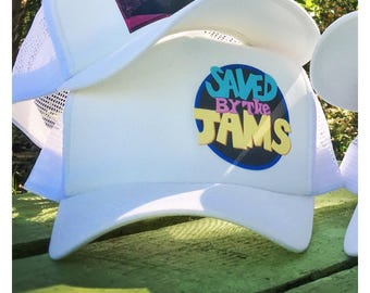 """Colby Goodjams """"Saved By The Jams"""" White Snapback Trucker Hat"""
