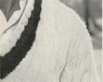 Vogue Knitting 1960 Classic Cabled Tennis Sweater Pattern Retro Mod Mad Men