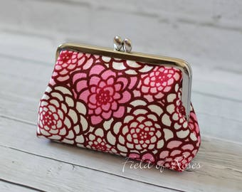 Small Clutch Clasp Cosmetic Purse Modern Japanese Floral Kimono Pattern Pink Frame Bag Cosmetic Bag Gadget Bag M Pouch