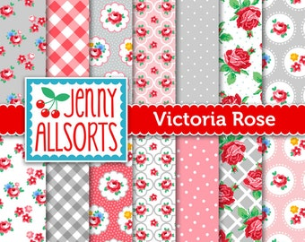 Shabby Chic Digital Paper - Victoria Rose Pink and Gray - for invites, card making, digital scrapbooking
