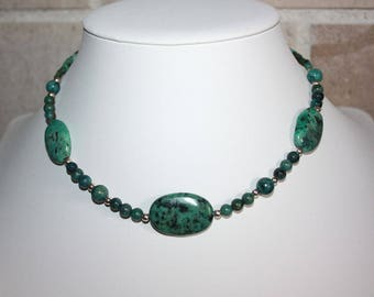 Choker necklace turquoise silver and genuine solid